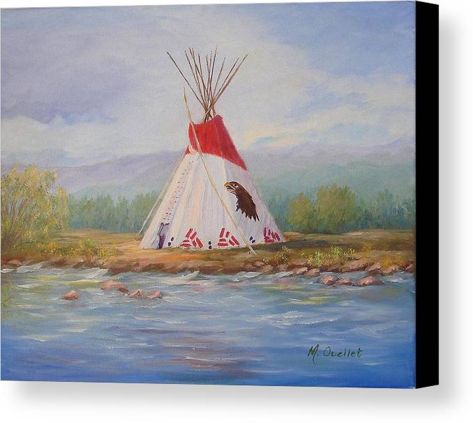 Landscape Canvas Print featuring the painting Tee Pee by Maxine Ouellet