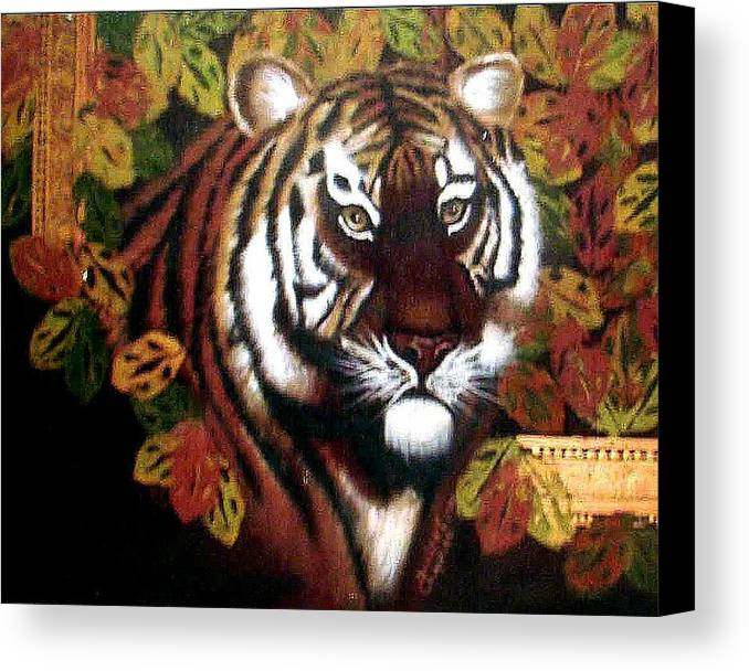 Tiger Canvas Print featuring the painting Tessas Tiger by Darlene Green