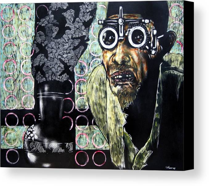 Scratchboard Canvas Print featuring the mixed media The Alchemist by Chester Elmore