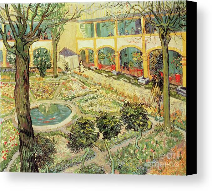 Vincent Van Gogh Canvas Print Featuring The Painting The Asylum Garden At  Arles By Vincent Van