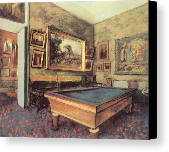 The Billiard Room Canvas Print featuring the painting The Billiard Room At Menil-hubert by Edgar Degas