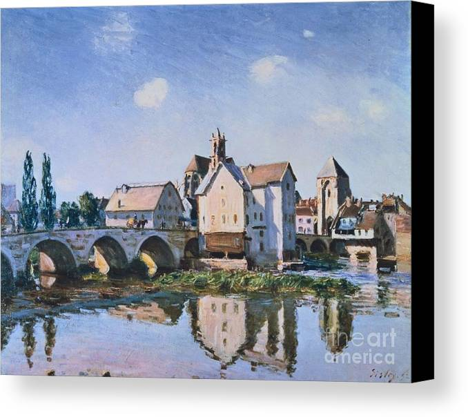 The Bridge Of Moret In The Sunlight Canvas Print featuring the painting The Bridge Of Moret In The Sunlight by MotionAge Designs