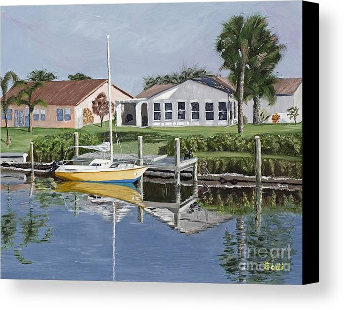 Landscape Canvas Print featuring the painting The Canal Awakens by Sodi Griffin