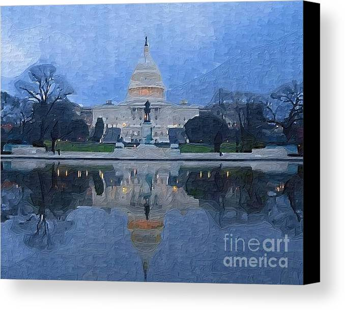 Washington Dc Canvas Print featuring the painting The Capital by Deborah Selib-Haig DMacq