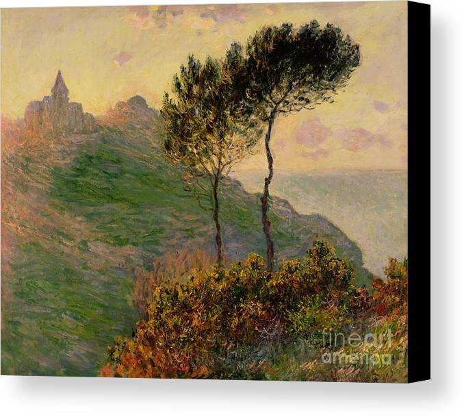 The Church At Varengeville Canvas Print featuring the painting The Church At Varengeville Against The Sunlight by Claude Monet