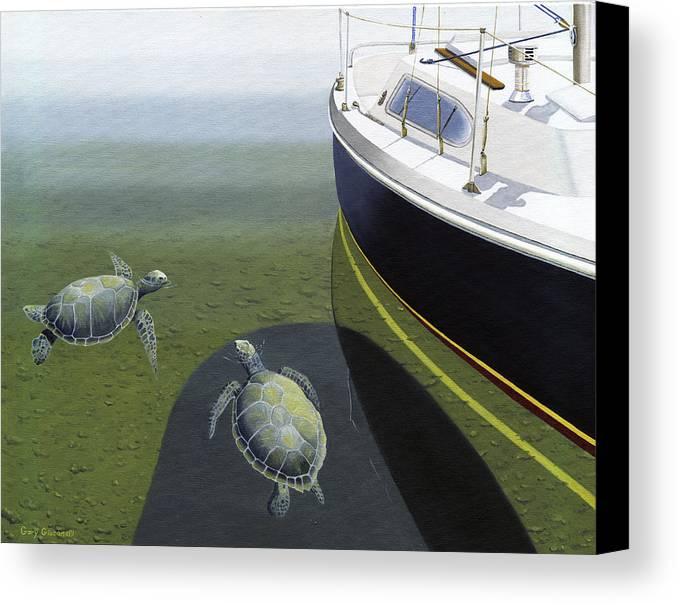 Sail Boat Canvas Print featuring the painting The Curiosity Of Sea Turtles by Gary Giacomelli