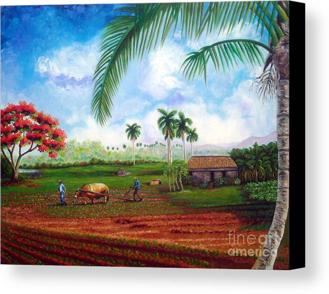 Cuban Art Canvas Print featuring the painting The Farm by Jose Manuel Abraham