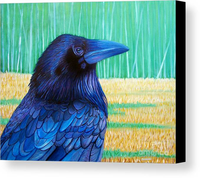 Raven Canvas Print featuring the painting The Field Of Dreams by Brian Commerford