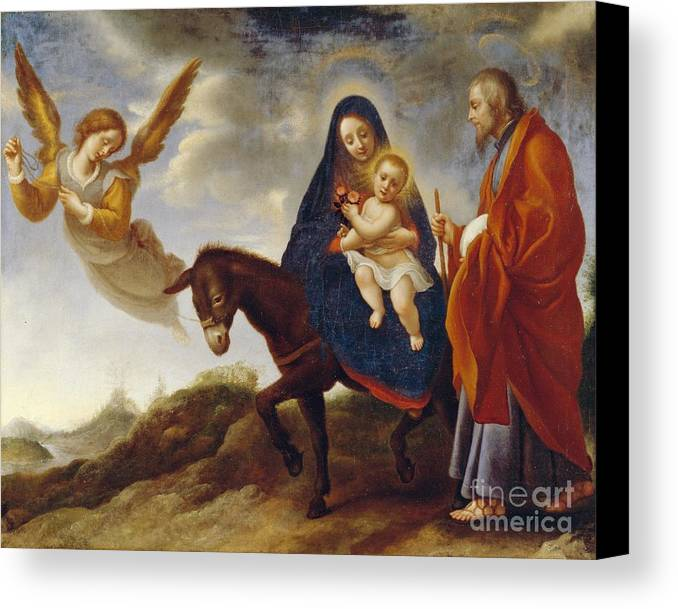 Flight Canvas Print featuring the painting The Flight Into Egypt by Carlo Dolci