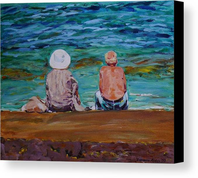 People Canvas Print featuring the painting The Golden Years by Doranne Alden