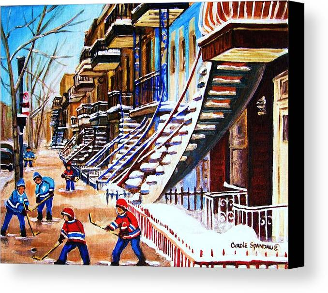 Hockey Canvas Print featuring the painting The Gray Staircase by Carole Spandau