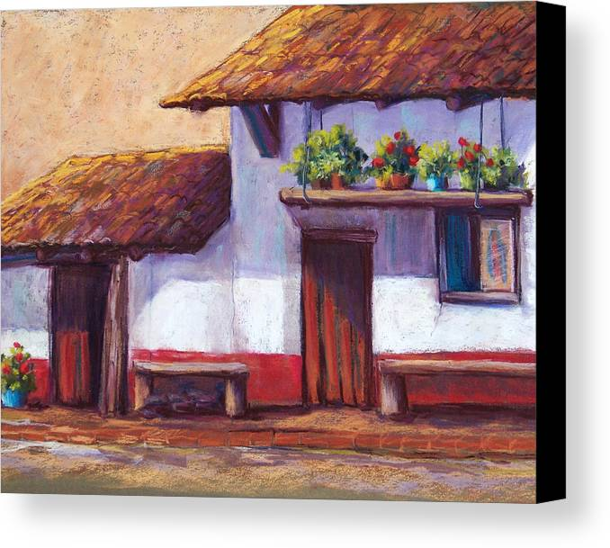 Landscape Canvas Print featuring the pastel The Hanging Garden by Candy Mayer