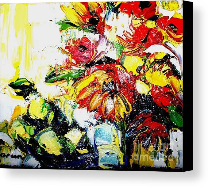 Artwork Canvas Print featuring the painting The Joyful Garden by Maya Green