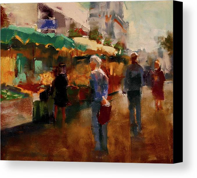 Market Canvas Print featuring the pastel The Market by David Patterson
