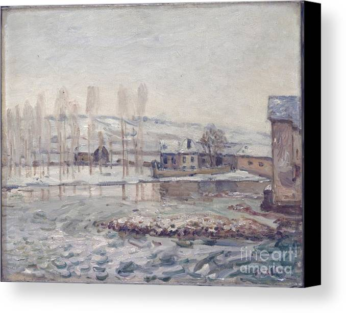 The Mills At Moret Canvas Print featuring the painting The Mills At Moret by MotionAge Designs