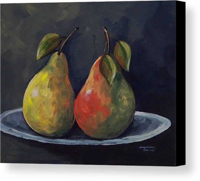 Pear Canvas Print featuring the painting The Pears by Torrie Smiley