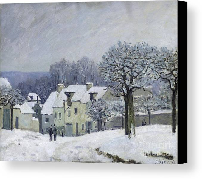 The Canvas Print featuring the painting The Place Du Chenil At Marly Le Roi by Alfred Sisley