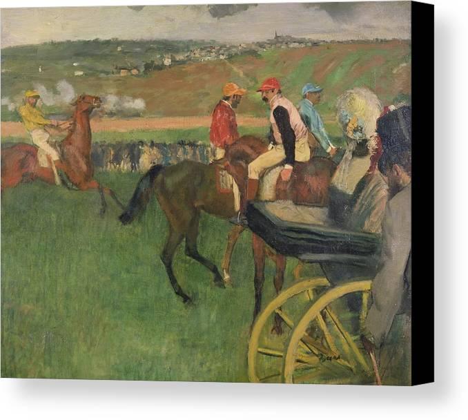 The Race Course - Amateur Jockeys Near A Carriage Canvas Print featuring the painting The Race Course by Edgar Degas