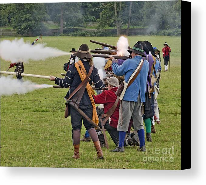 Civil War Canvas Print featuring the photograph The Skirmish Begins by Linsey Williams