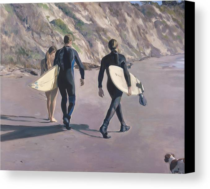 Surfers Canvas Print featuring the painting The Surfers by Merle Keller
