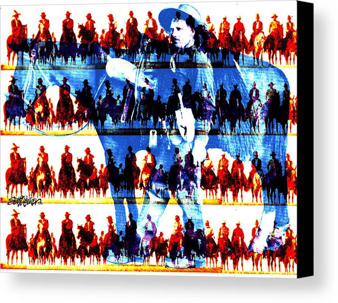 Cowboys Canvas Print featuring the digital art The Tenderfoot by Seth Weaver