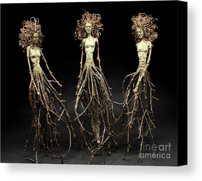 Three Graces Canvas Print featuring the mixed media The Three Graces Dance by Adam Long