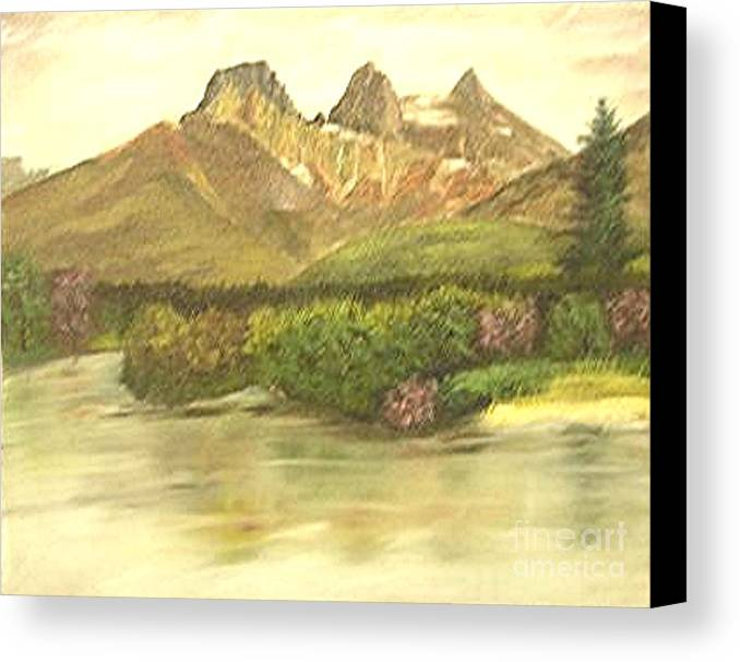 Lanscape Canvas Print featuring the painting The Three Sisters by Nicholas Minniti