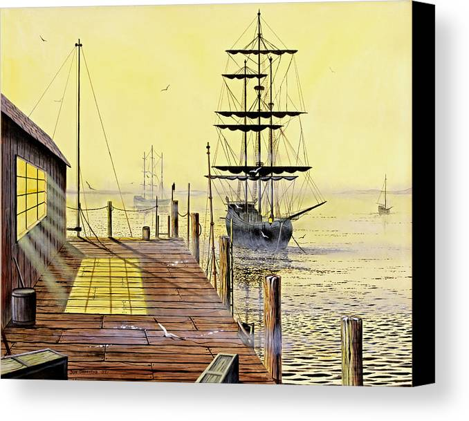 Water Canvas Print featuring the painting The Wharf by Don Griffiths