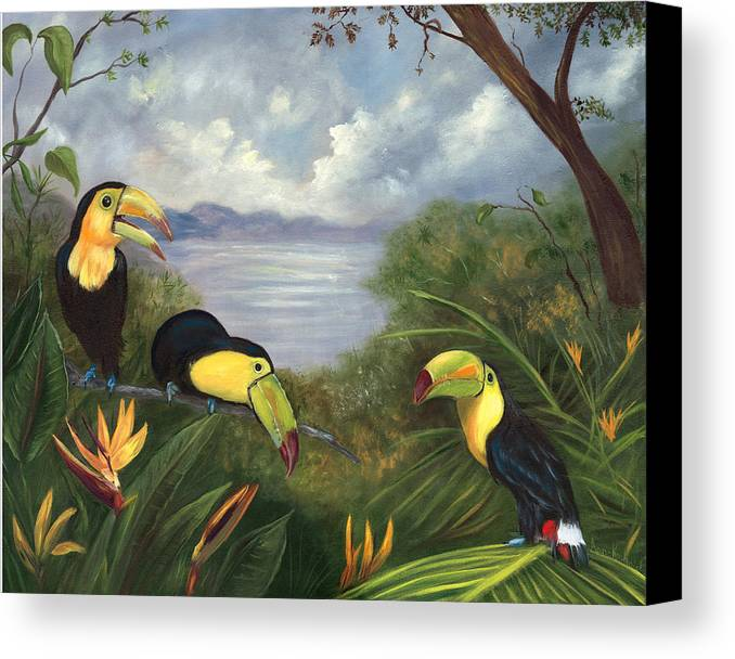 Landscape Canvas Print featuring the painting Three Cans by Anne Kushnick