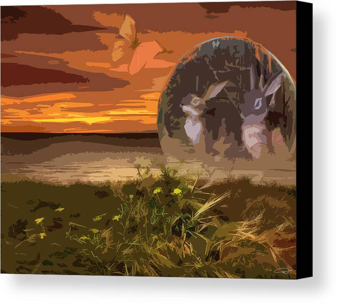 Rabbit.landscape.field Canvas Print featuring the digital art Threw The Rabbit Hole by Melody Crighton