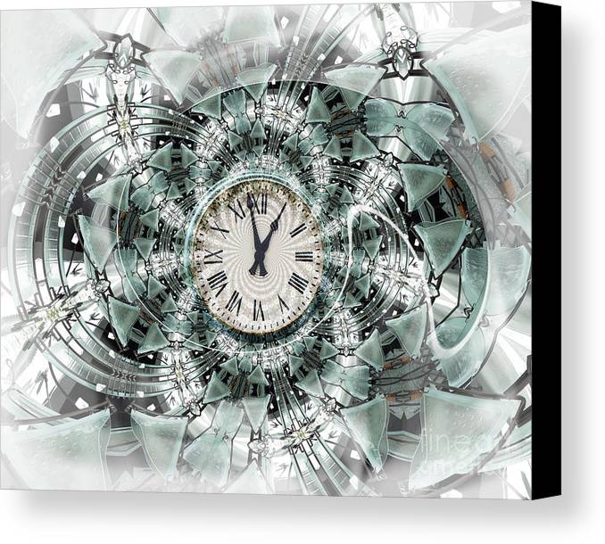 Clock Canvas Print featuring the digital art Time Warp by Chuck Brittenham