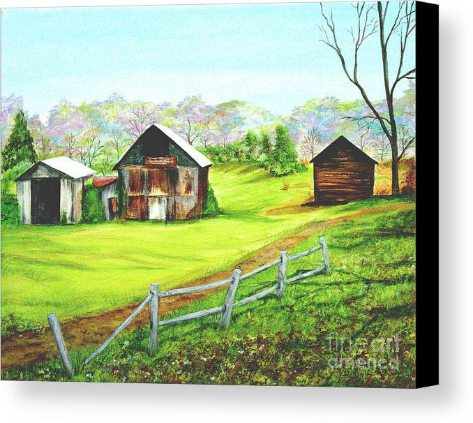 Landscape Canvas Print featuring the painting Tobacco Barns North Carolina by Pauline Ross