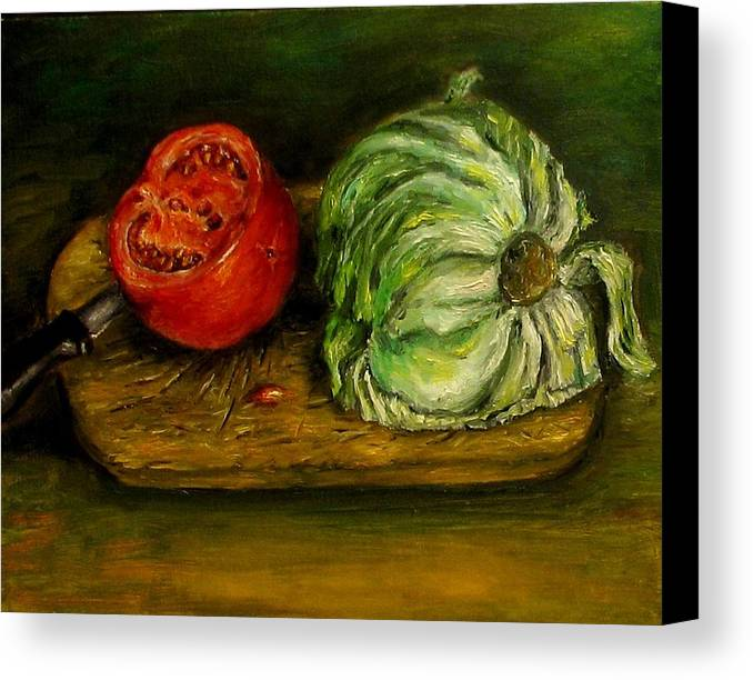 Tomatoes Canvas Print featuring the painting Tomato And Cabbage Oil Painting Canvas by Natalja Picugina