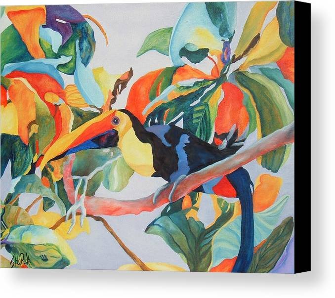 Bird Canvas Print featuring the painting Toucan by SheRok Williams