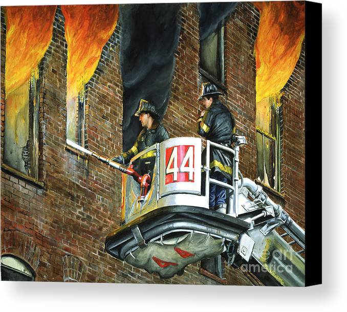 Fdny Canvas Print featuring the painting Tower Ladder 44-south Bronx by Paul Walsh