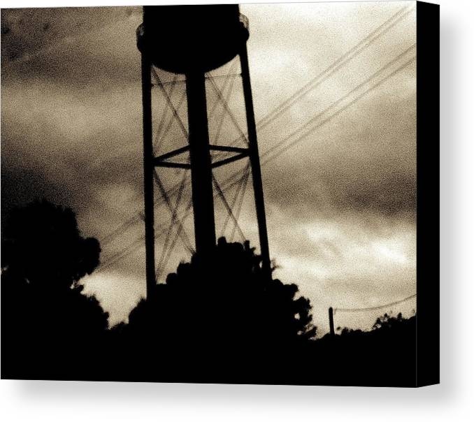 Water Tower Canvas Print featuring the photograph Tower With Intersecting Lines II by Stephen Hawks