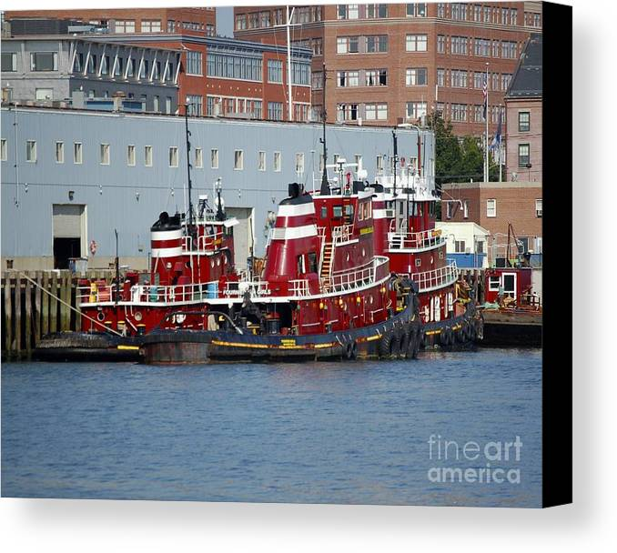 Tug Canvas Print featuring the photograph Tugs At Rest by Faith Harron Boudreau