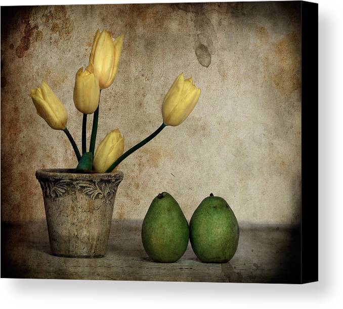 Still Life Canvas Print featuring the photograph Tulips And Green Pears by Levin Rodriguez