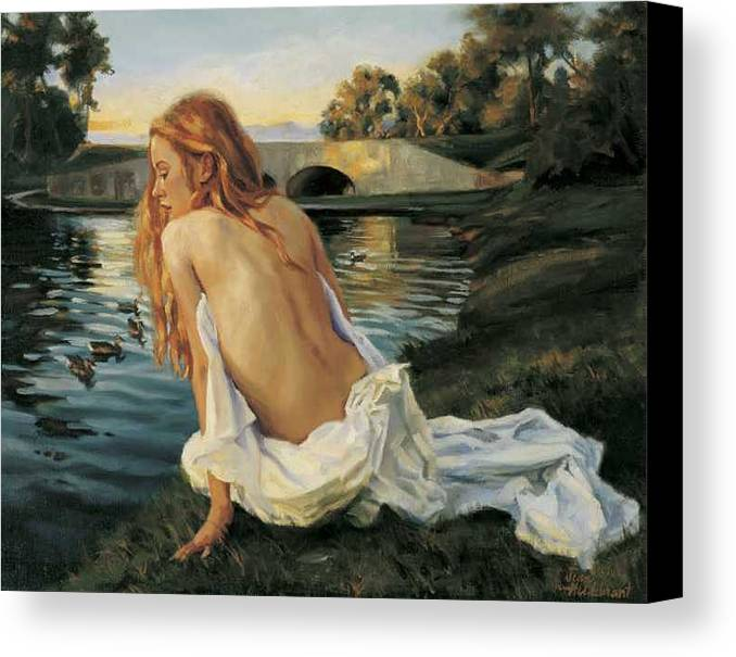 Young Canvas Print featuring the painting Twilight Reflection by Jean Hildebrant