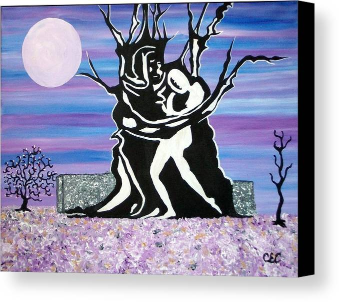 Moon Canvas Print featuring the painting Union by Carolyn Cable