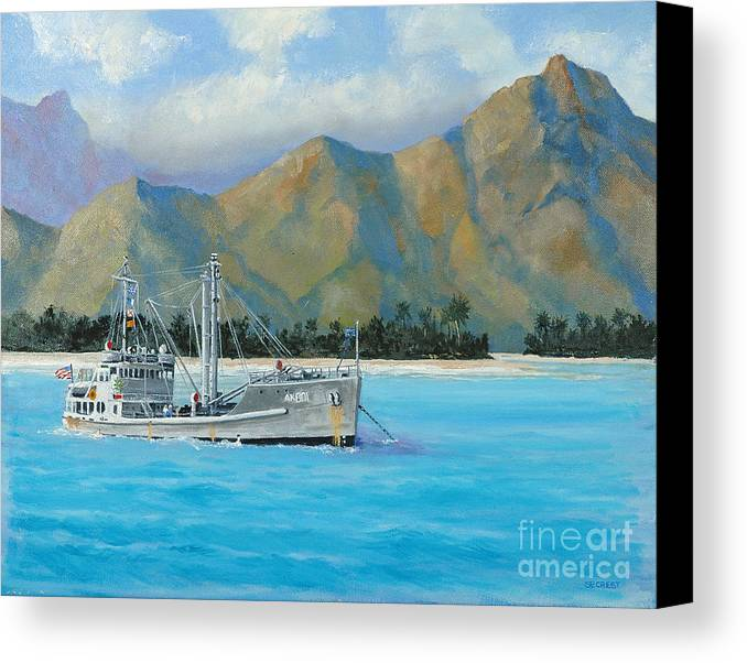 Seascape Canvas Print featuring the painting Uss Reluctant Anchored Off Ennui by Glenn Secrest