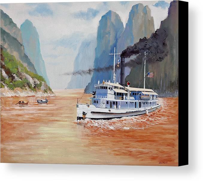 the Sand Pebbles Canvas Print featuring the painting Uss San Pablo On Yangtze River Patrol by Glenn Secrest