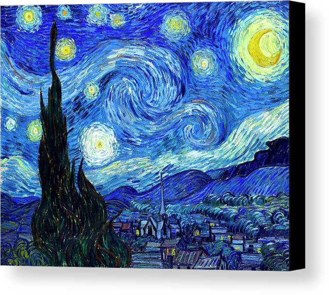 Van Gogh Canvas Print featuring the painting Van Gogh Starry Night by Vincent Van Gogh