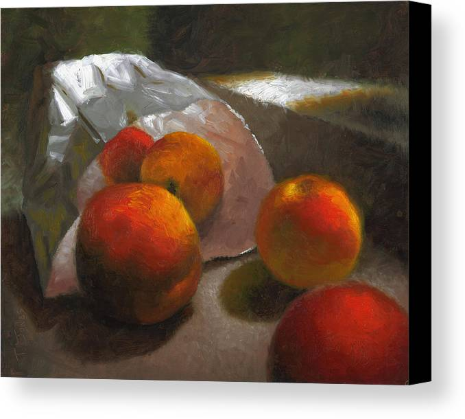 Peaches Canvas Print featuring the painting Vanzant Peaches by Timothy Jones