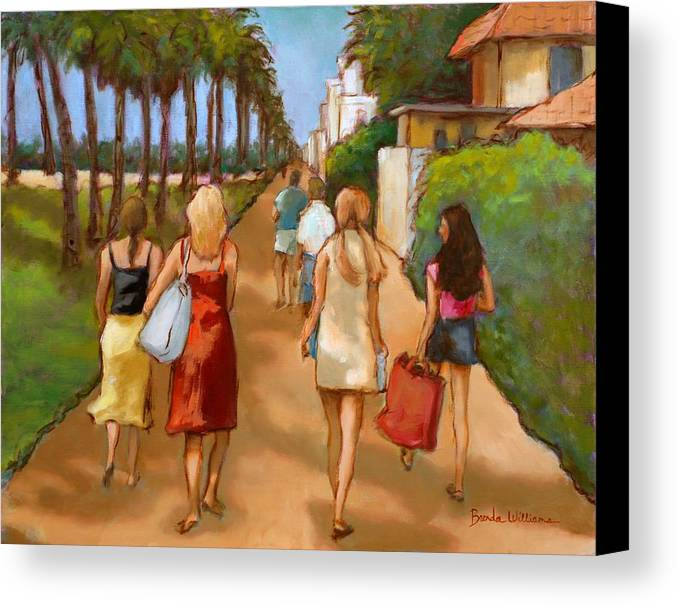 Girls Canvas Print featuring the painting Venice Beach Promenade by Brenda Williams