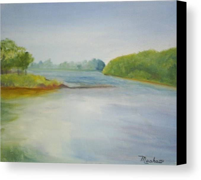 Delaware River Canvas Print featuring the painting View Of The Delaware by Sheila Mashaw