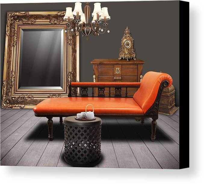 Apartment Canvas Print featuring the mixed media Vintage Furnitures by Atiketta Sangasaeng