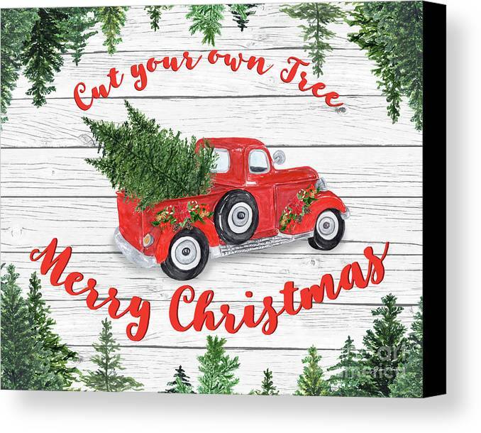 christmas canvas print featuring the digital art vintage red truck christmas b by jean plout
