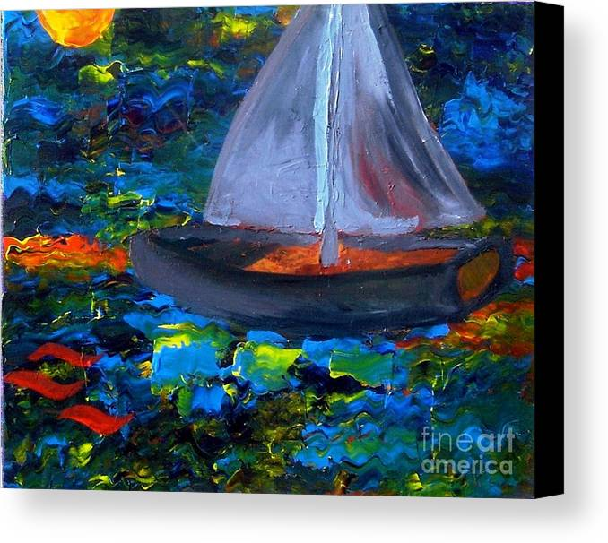Serpent Canvas Print featuring the painting Voyage With A Sea Serpent by Karen L Christophersen