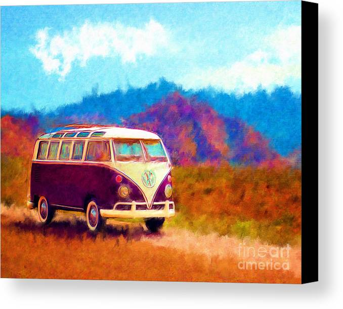 Automobile Canvas Print featuring the digital art Vw Van Classic by Marilyn Sholin